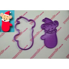 Пластиковая вырубка с оттиском Мышка в перчатке, 12см