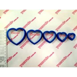 Пластиковая вырубка Сердца набор 5шт, 6см, 5см, 4см, 3см, 2см