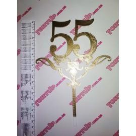 Топпер пластиковый 55 с вензелем, 8см, ножка с вензелем 11см, золотой