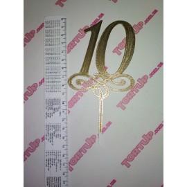 Топпер пластиковый 10 с вензелем малым, золото, 10см, ножка 5см