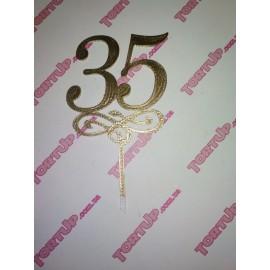 Топпер пластиковый 35 с вензелем малым, золото, 10см, ножка 5см
