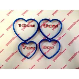 Пластиковая вырубка Сердца набор 4шт 10см 9см 8см 7см