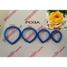 Пластиковая вырубка Лепесток розы 4,8см 4см 3,5см 3см