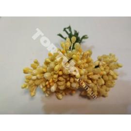 Тычинки с бусинками жёлтые 11см 1 пучок 12 веточек