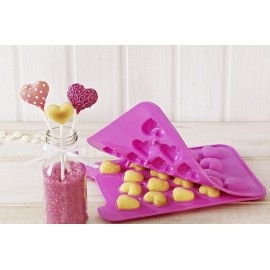 Форма силиконовая для кейк-попсов Сердечки 20 ячеек размер 3*3,5 см
