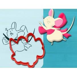 Пластиковая вырубка Мышка с бантиком 12см