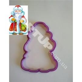 Пластиковая вырубка Дед мороз №2 12см