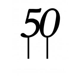 Топпер пластиковый 50 №1 12см, ножка 7см, золотой