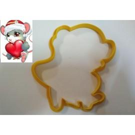 Пластиковая вырубка Мышка №2 с сердечком 12см