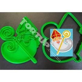 Пластиковая вырубка оттиском Святой Николай №3 12см