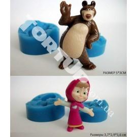 Молд 3D Миша и Маша маленькие набор