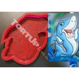 Пластиковая вырубка+трафарет Акула №2 12см
