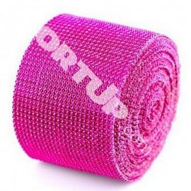 Лента Стразы розовые