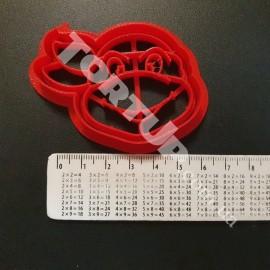 Пластиковая вырубка с оттиском Черепашка ниндзя 6см