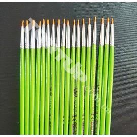 Кисть тонкая №0 зелёная, синтетика