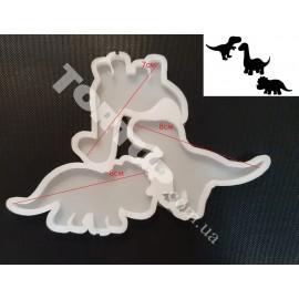 Молд силиконовый для леденцов Динозаврики 3шт