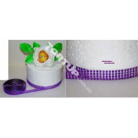 Лента Стразы фиолетовая