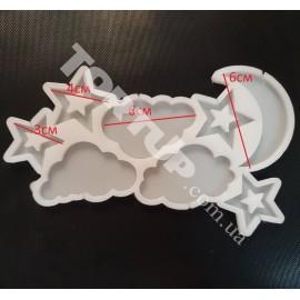 Молд силиконовый для леденцов Ассорти №2   Полумесяц, звёзды, облака