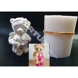 Молд силиконовый 3D Мишка плюшевый с зайкой №1 9см