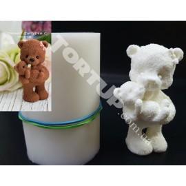 Молд силиконовый 3D Мишка мама с детёнышем 7.5см