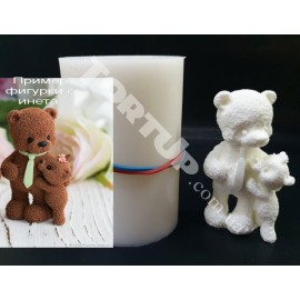 Молд силиконовый 3D Мишка папа с детёнышем 7.5см