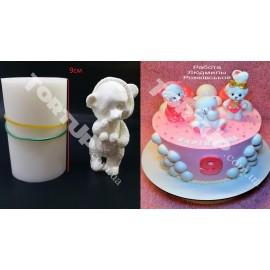 Молд силиконовый 3D Мишки в пижаме №2 (стоит) 9 см