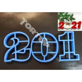 Пластиковая вырубка цифры 201 символ года 2021 8см