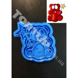 Пластиковая вырубка с оттиском мишка Валера 6см