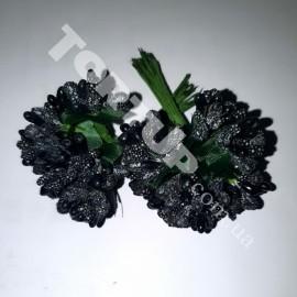 Тычинки с бусинками чёрные 11см 1 пучок 12 веточек