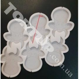 Молд силиконовый для леденцов Бычок голова №2 6см