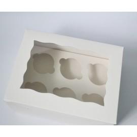Коробка для маффинов на 6шт с окном,глянец
