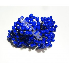 Тычинки крупные на проволоке синие 7см 1 пучок 50 бусинок