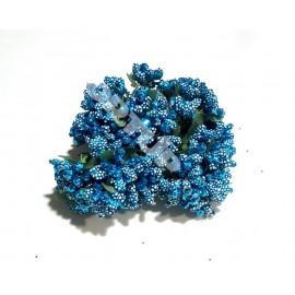 Тычинки с бусинками голубые 11см 1 пучок 12 веточек