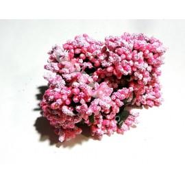 Тычинки с блёстком розовые 11см 1 пучок 12 веточек
