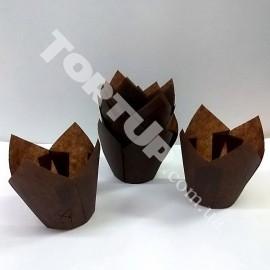 Бумажная форма Тюльпан 5*8см Коричневые 10шт
