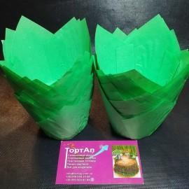 Бумажная форма Тюльпан 5*8см Зелёные 10шт