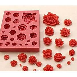 Молд Розы планшет. Размеры розочек: от 0,5 см х 0,4 см до 3,8 см х 4,0 см