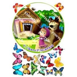 Вафельная картинка Маша и Медведь 008