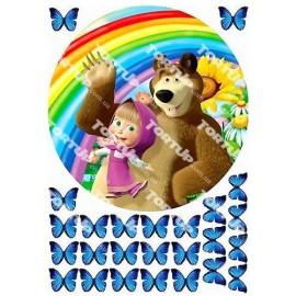Вафельная картинка Маша и Медведь 011