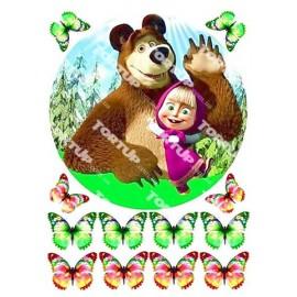 Вафельная картинка Маша и Медведь 012