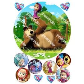 Вафельная картинка Маша и Медведь 014