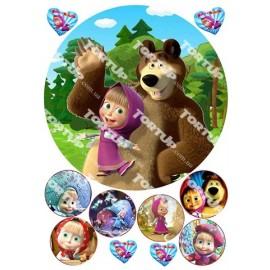 Вафельная картинка Маша и Медведь 015