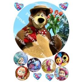 Вафельная картинка Маша и Медведь 016