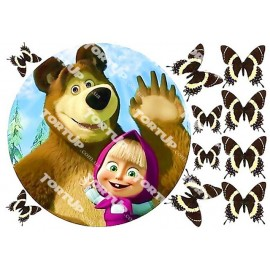 Вафельная картинка Маша и Медведь 017