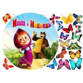 Вафельная картинка Маша и Медведь 029