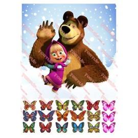 Вафельная картинка Маша и Медведь 034
