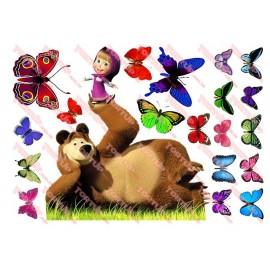Вафельная картинка Маша и Медведь 039