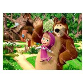 Вафельная картинка Маша и Медведь 040
